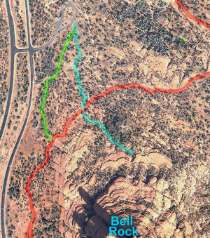Map of Trails from Northern Parking Lot to Bell Rock